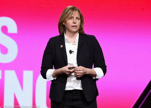 Megan Smith speaks at a 2019 MAKERS Conference in California. (© Vivien Killilea/Getty Images)