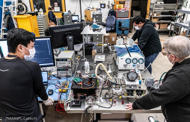 Engineers work on a prototype ventilator at NASA's Jet Propulsion Laboratory in Pasadena, California. (NASA/JPL-Caltech)