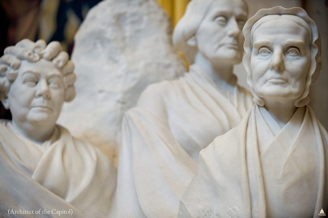 "Adelaide Johnson's ""portrait monument"" of Elizabeth Cady Stanton, Susan B. Anthony and Lucretia Mott (Architect of the Capitol)"