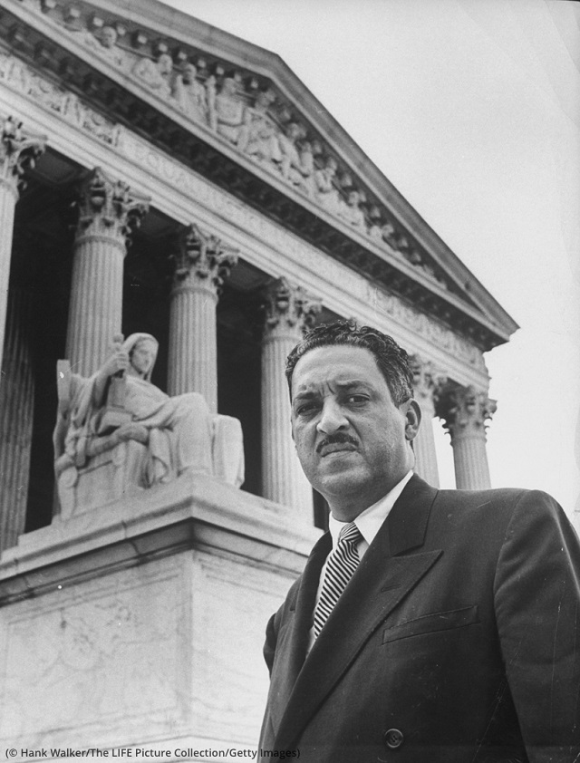Thurgood Marshall outside the U.S. Supreme Court during the time Brown v. Board of Education was argued at the court. Years later he joined the Court. (© Hank Walker/The LIFE Picture Collection/Getty Images)