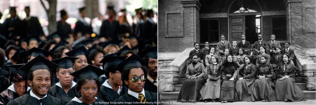 Recent graduates of Fisk University, in Tennessee, respect their academic forbears. (© National Geographic Image Collection/Alamy Stock Photo, © Glasshouse Images/Alamy Stock Photo)