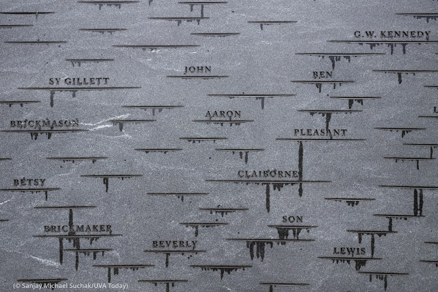 Close-up view of the Memorial to Enslaved Laborers. It lists the enslaved by their jobs and family ties when their names are unknown. (© Sanjay Michael Suchak/UVA Today)