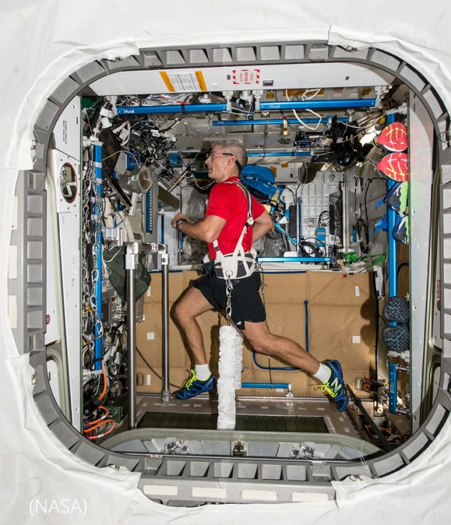 Astronaut Mark T. Vande Hei exercises on the T2 Combined Operational Load Bearing External Resistance Treadmill (COLBERT) aboard the International Space Station. (NASA)