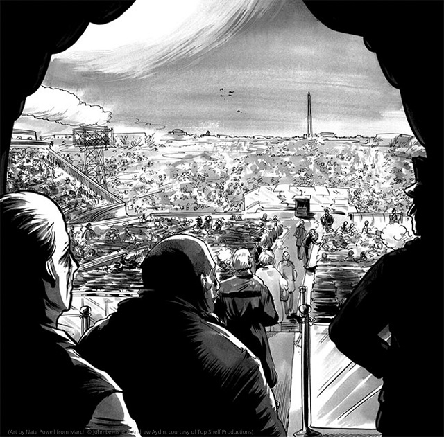 The 1963 March on Washington (Art by Nate Powell from March © John Lewis and Andrew Aydin, courtesy of Top Shelf Productions)