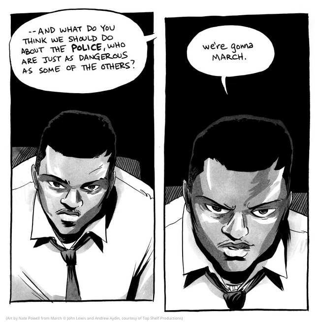 A young John Lewis shows resolve. (Art by Nate Powell from March © John Lewis and Andrew Aydin, courtesy of Top Shelf Productions)
