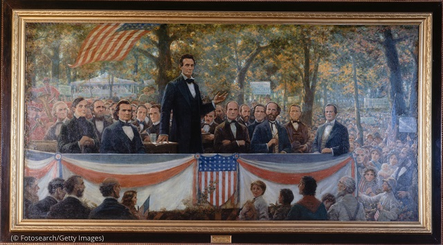 Painting of one of Abraham Lincoln's debates with Stephen Douglas, September 18, 1858 (Fotosearch/Getty Images)