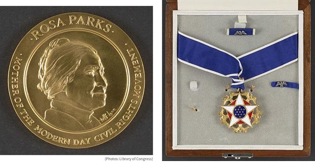 1999年に議会名誉黄金勲章(左)、そして1996年に大統領自由勲章を受章した公民権運動家ローザ・パークス (Library of Congress)