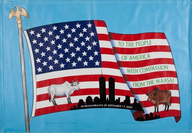 ウイルソン・キメリ・ナイヨマとマサイ族からの贈り物。「国立9/11記念館・博物館」所蔵 (© Matt Flynn/9/11 Memorial Museum/Gift of Wilson Kimeli Naiyomah and the Maasai People of Kenya)