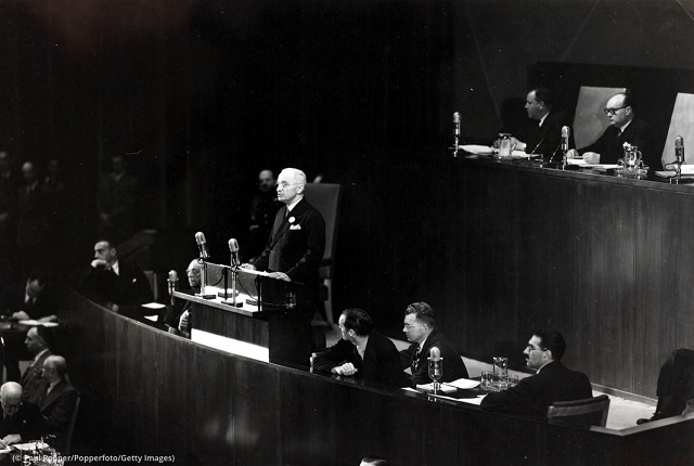 U.S. President Harry S. Truman speaks at the first United Nations General Assembly in 1946. (© Paul Popper/Popperfoto/Getty Images)