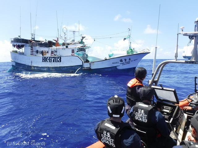 The U.S. Coast Guard patrols the Pacific Ocean on March 13 as part of joint efforts with international partners to deter illegal fishing. (U.S. Coast Guard)