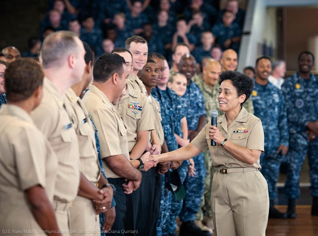Vice Chief of Naval Operations Admiral Michelle J. Howard greets sailors based in Hawaii. Howard was the first woman to become a four-star admiral. (U.S. Navy/Mass Communication Specialist 2nd Class Diana Quinlan)