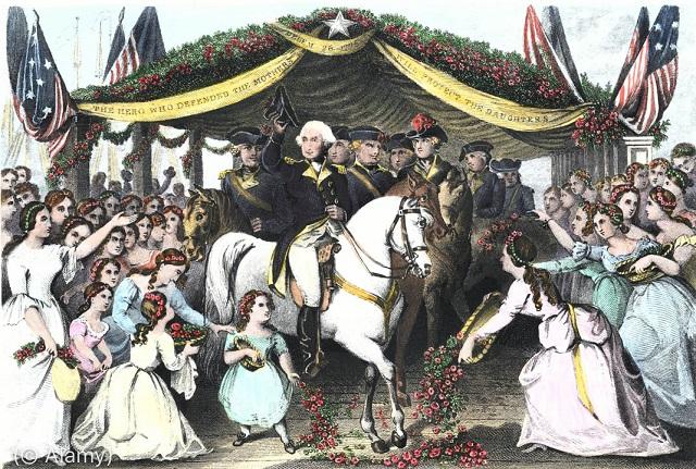 1789年、ニュージャージー州トレントンの町で就任式に向かう初代大統領ジョージ・ワシントンと彼を迎える群衆 (© Alamy)