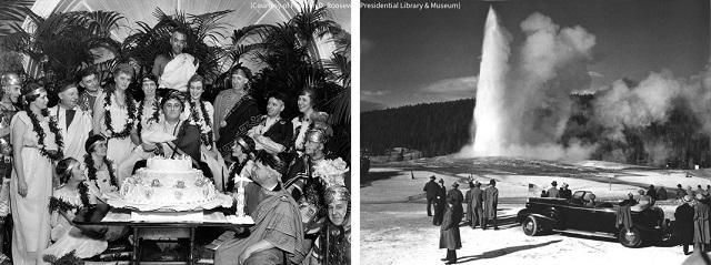左:1934年、エレノア夫人(後方右肩側)と共に誕生日を祝うフランクリン・D・ルーズベルト大統領(中央)。右:1937年、ワイオミング州イエローストーン国立公園でオールド・フェイスフル・ガイザーを眺めるルーズベルト大統領(中央) (Courtesy of Franklin D. Roosevelt Presidential Library & Museum)