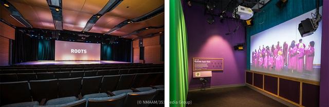 来館者はルーツシアター(左)から6つのギャラリーへと、ほぼ時系列に沿って進んでいける (© NMAAM/353 Media Group)