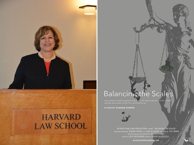 左:アメリカ法曹協会主催「法曹界に女性を維持するためのサミット」で講演を行うシャロン・ローエン。ハーバード法科大学院にて 右:映画「バランシング・ザ・スケールズ」の宣伝ポスター