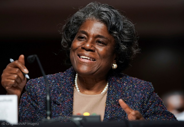 Linda Thomas-Greenfield testifies during her recent confirmation hearing in Washington. (© Greg Nash/AP Images)