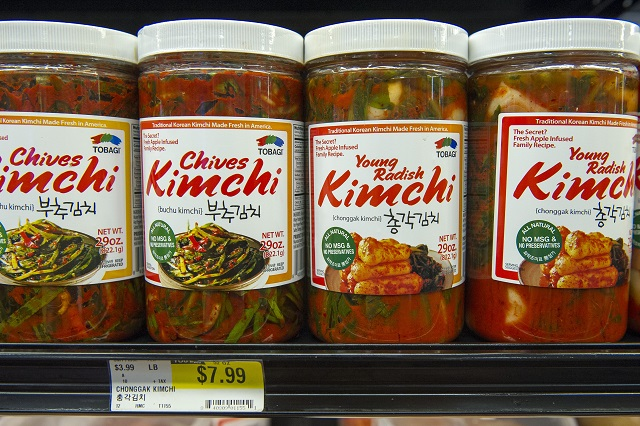 Classic Korean food items, like kimchi, are showing up with more frequency on U.S. grocery shelves. (© AP Images)