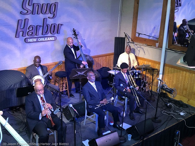 Michael White and the Original Liberty Jazz Band perform for a streaming audience at the Snug Harbor Jazz Bistro in March. (© Jason Patterson/Snug Harbor Jazz Bistro)