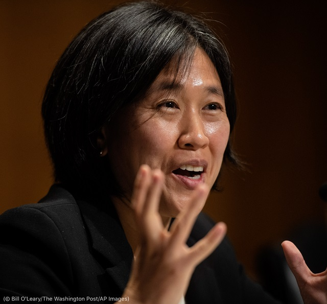 Katherine C. Tai speaks during her Senate confirmation hearing. (© Bill O'Leary/The Washington Post/AP Images)