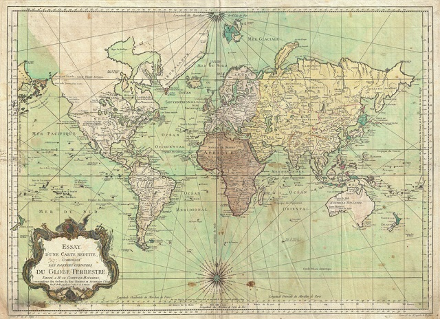 Nautical maps such as this one, the Bellin map of the world from 1778, were often drawn with the Mercator projection, which meant sailors didn't need to recalculate their bearings on long voyages. (© Artokoloro Quint Lox Limited/Alamy)