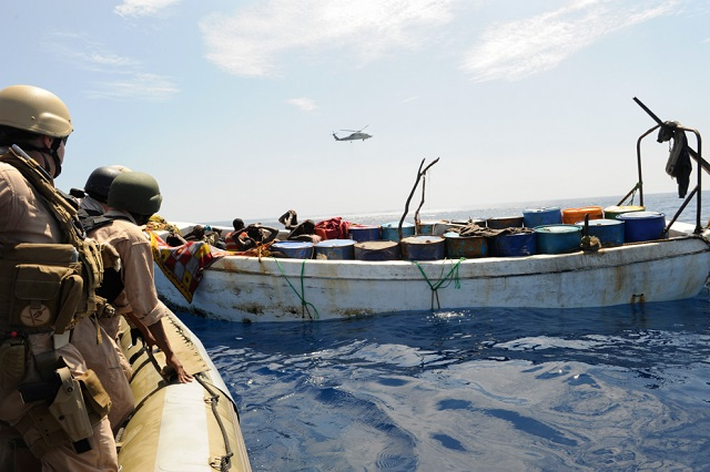 U.S. Coast Guard members prepare to board a vessel as part of multinational anti-piracy operations in the Gulf of Aden. (Cassandra Thompson/U.S. Navy/Getty Images)