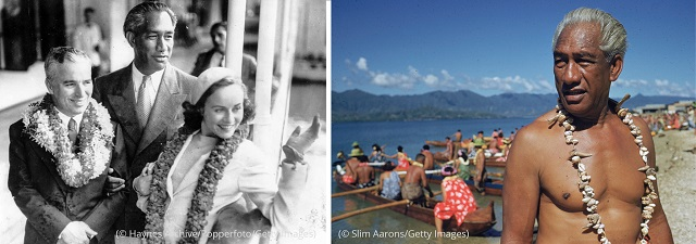 """Left: Kahanamoku welcomes actors Charlie Chaplin and Paulette Goddard to Honolulu in 1936. (© Haynes Archive/Popperfoto/Getty Images) Right: Kahanamoku plays a role in the 1955 film """"Mister Roberts."""" (© Slim Aarons/Getty Images)"""