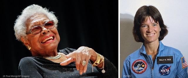 2022年、25セント硬貨に登場するマヤ・アンジェロウ(左)とサリー・ライド (© Paul Morigi/AP Images) (NASA)