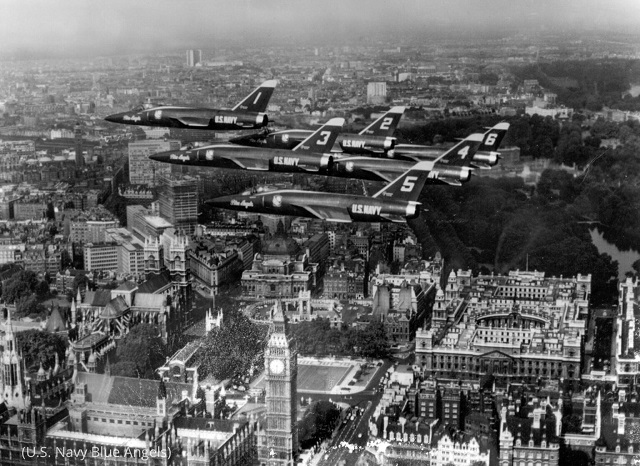 U.S. Navy Blue Angels planes fly over London in 1965. (U.S. Navy Blue Angels)