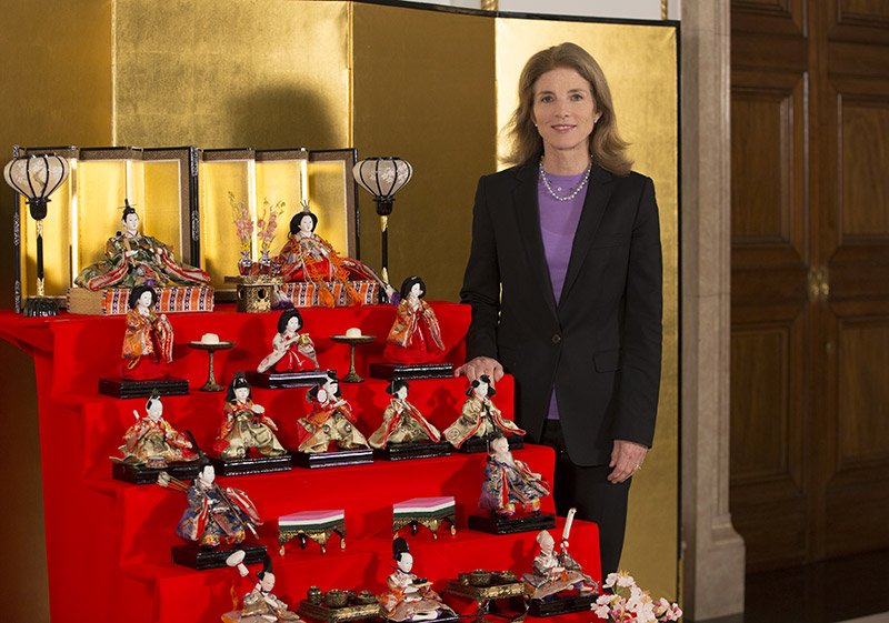 photo of Amb. Kennedy and hina dolls
